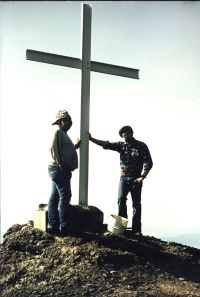 Peter Cain and Oly Bar on construction day of the cross